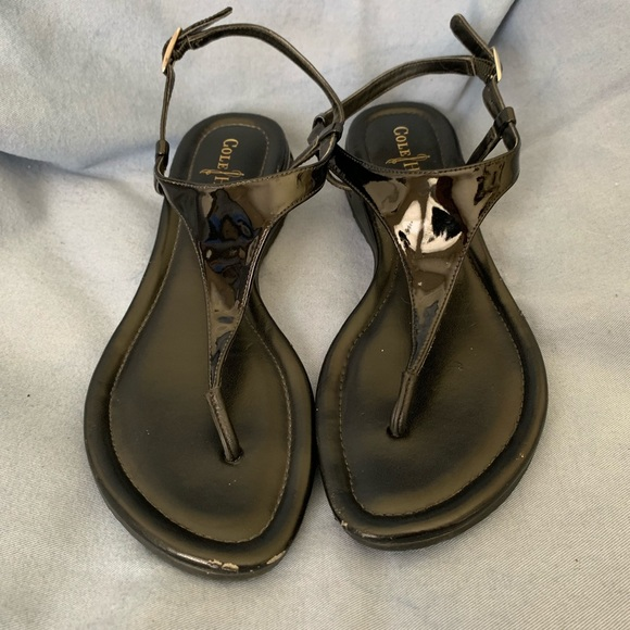 Cole Haan Shoes - Cole Haan Black Patent Leather Thong Sandal Size 8